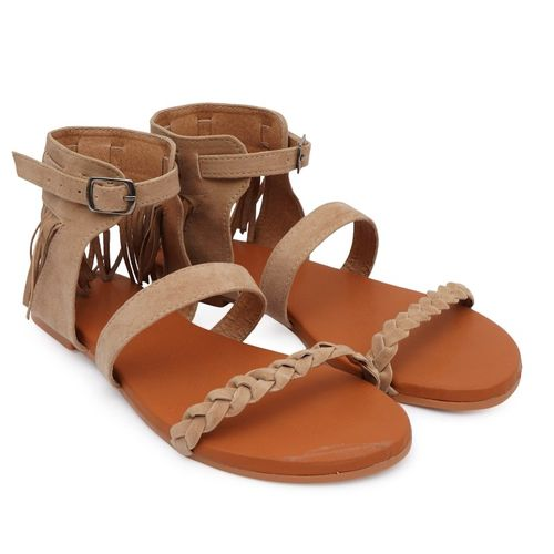 BK DREAM Brown Synthetic Flat Sandal