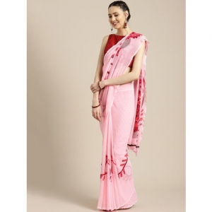 Ishin Pink & Red Printed Poly Georgette Saree