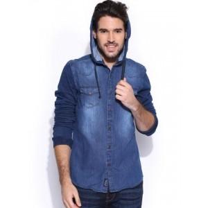 Being Human Clothing Blue Hooded Slim Denim Shirt