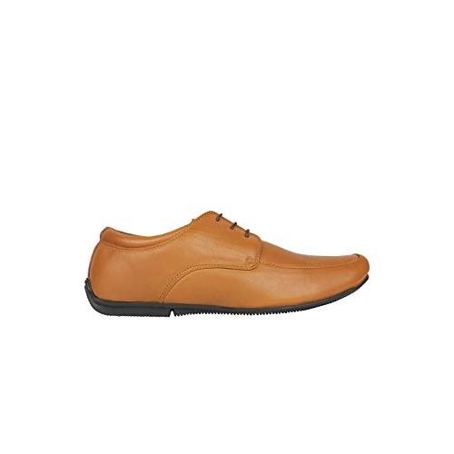 egoss Tan Leather Derbys Shoes