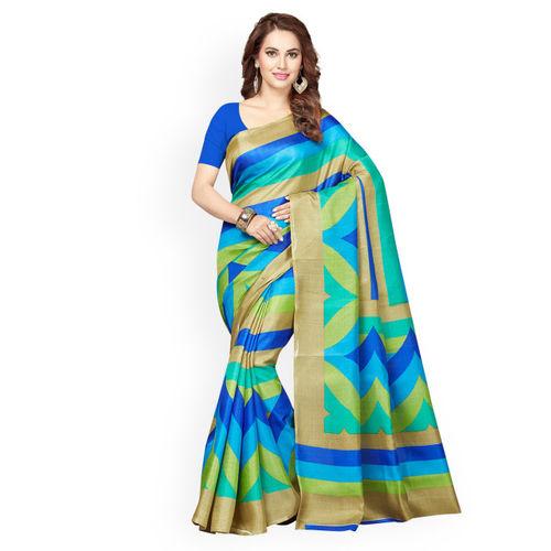 Ishin Selection of 2 Blue & Pink Art Silk Printed Sarees