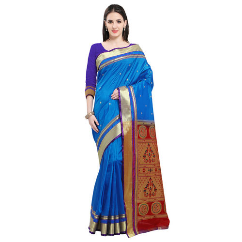 Ishin Blue Art Silk Patterned Paithani Saree