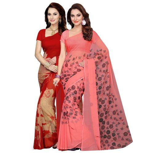 Ishin Selection of 2 Red & Pink Poly Georgette Printed Sarees