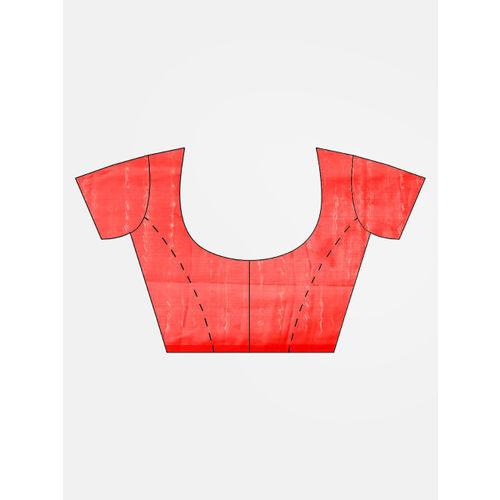 Ishin Red & Navy Blue Printed Saree