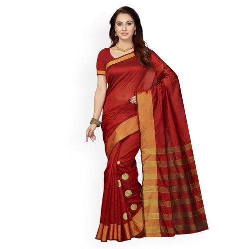 Ishin Red Woven Design Bhagalpuri Art Silk Saree