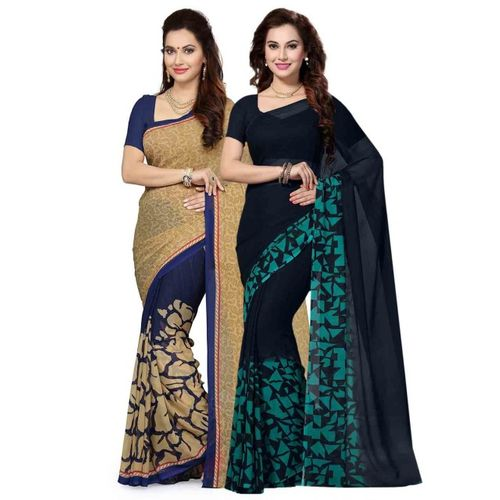 Ishin Selection of 2 Beige & Blue Poly Georgette Printed Sarees
