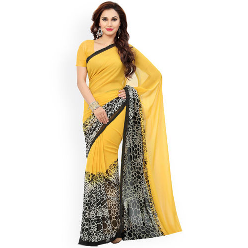 Ishin Selection of 2 Yellow & Peach-Coloured Poly Georgette Printed Sarees