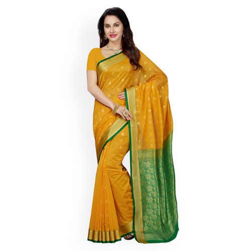 Ishin Yellow Woven Design Pure Cotton Saree