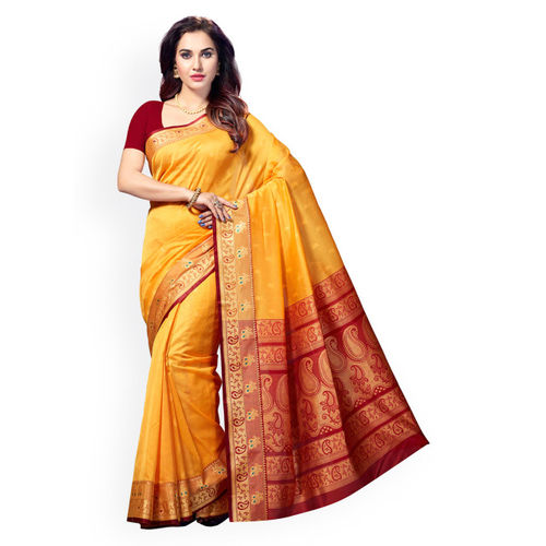 Ishin Yellow Woven Design Cotton Blend Saree