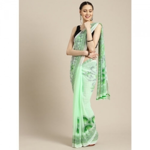 Ishin Green Printed Saree