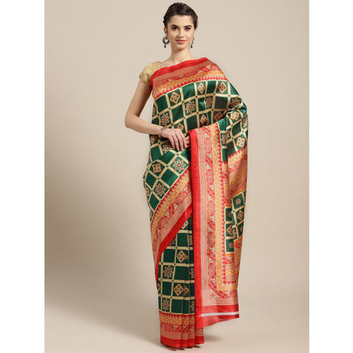 Ishin Green & Orange Poly Silk Printed Saree