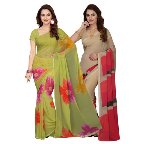 Ishin Selection of 2 Green & Beige Poly Georgette Printed Sarees