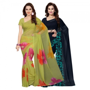 Ishin Green & Blue Poly Georgette Printed Saree-Pack Of 2