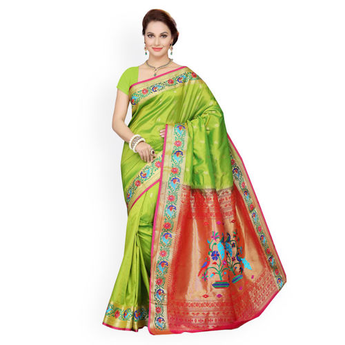 Ishin Green & Orange Poly Silk Traditional Saree