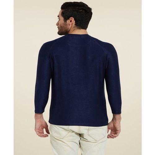 Spykar Indigo Slim Fit Cotton Henley T-Shirt