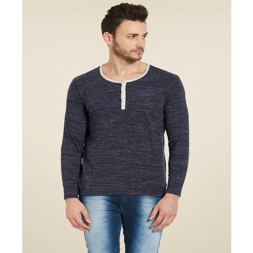 Spykar Navy Full Sleeves Henley T-Shirt