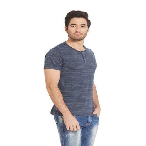 Spykar Dark Blue Striped Slim Fit Henley T-Shirt