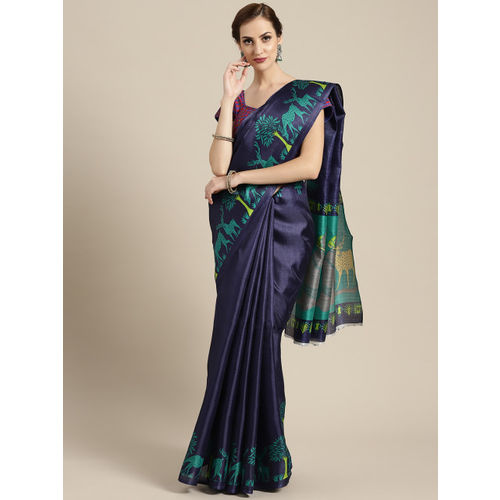 Ishin Navy Blue & Green Solid Saree