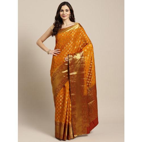 Ishin Mustard Yellow & Golden Woven Design Mysore Silk Saree