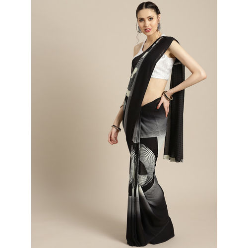 Ishin Black & Off-White Poly Georgette Printed Saree