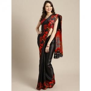 Ishin Black & Red Poly Silk Solid Saree