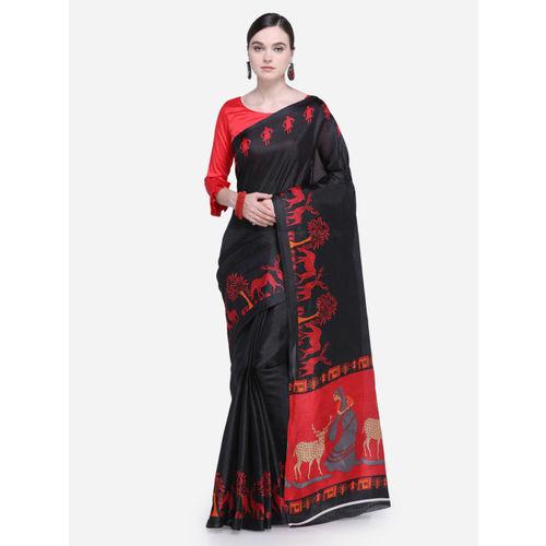 Ishin Black Printed Poly Silk Saree