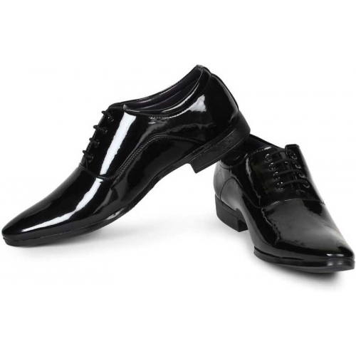 Formic Designer Patent Leatherette Shining Jet Black Lace-Up Party Formal Shoes