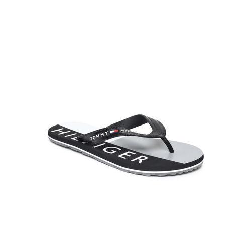 Tommy Hilfiger Men Black & White Printed Thong Flip-Flops