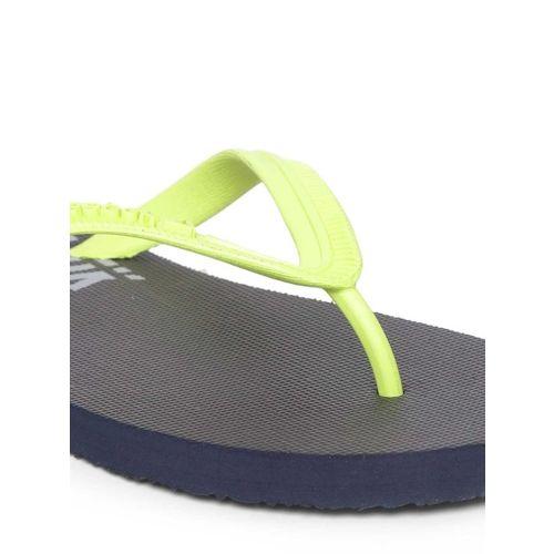 Reebok Men Fluorescent Green & Navy Blue Hustle Printed Thong Flip-Flops