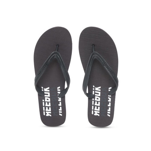 Reebok Men Black Hustle Printed Thong Flip-Flops