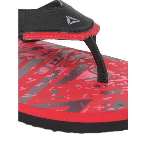 Reebok Men Black & Red BRONN Printed Thong Flip-Flops