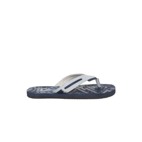 Reebok Men Grey & Navy Blue BRONN Printed Thong Flip-Flops