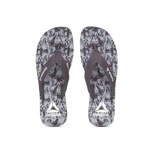 Reebok Men Aubergine & Grey Axon Printed Thong Flip-Flops