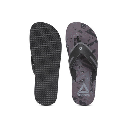 Reebok Men Black & Aubergine BRONN Printed Thong Flip-Flops