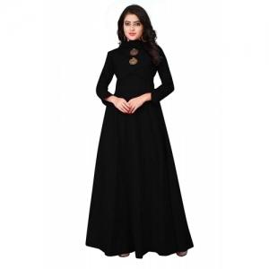 Leriya Fashion Black Rayon Solid High Neck Kurti