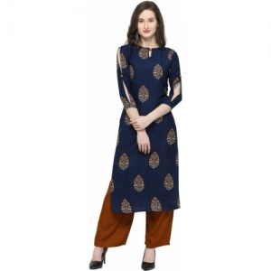 Saara Dark Blue Rayon Cotton Blend Women Printed, Block Print, Floral Print Straight Kurta