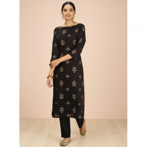 all about you Black Printed Straight Kurta