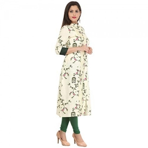MIAUW Cream Cotton Printed Casual Kurti For Women's