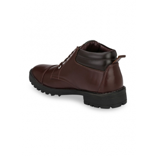 Mactree Men Brown Solid Synthetic Leather Mid-Top Flat Boots