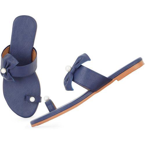 BK DREAM Blue Synthetic Flats Chappal