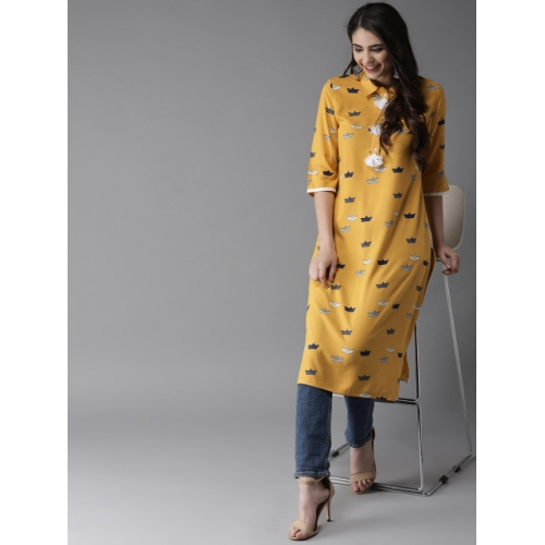 HERE&NOW Women Mustard Yellow Printed Straight Kurta