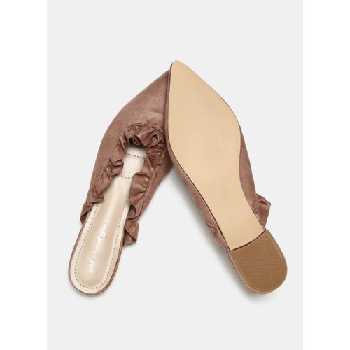 all about you Brown Solid Mules