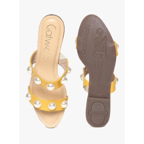 Catwalk Yellow Solid Open Toe Flats