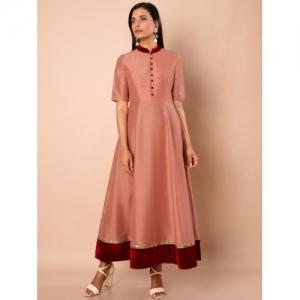 INDYA Women Pink Solid Anarkali Kurta