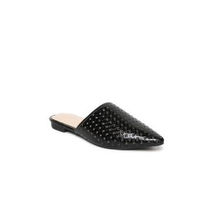Addons Black Solid Cut-Out Mules