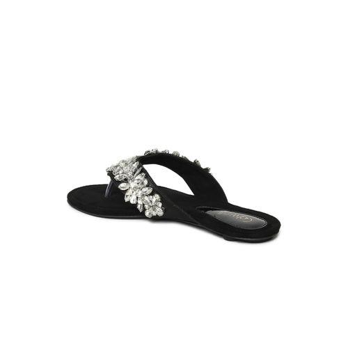 Catwalk Black Solid Open Toe Flats
