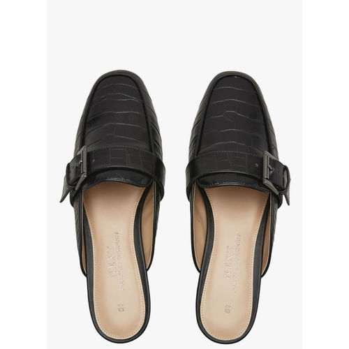 next Black Synthetic Patent Mules
