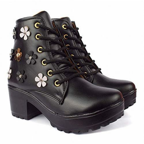 Zapatoz  Black Synthetic Leather Lace Up Boots