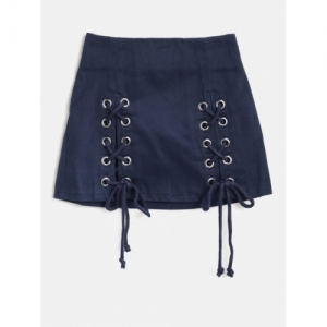Nauti Nati Navy Blue Cotton Solid A-Line Skirt