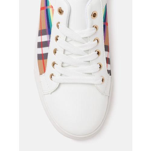 Lavie Women White & Purple Printed Sneakers